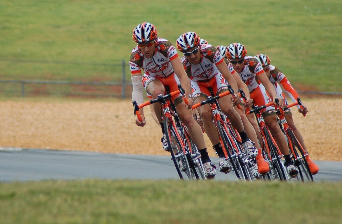 A peloton in a bike race