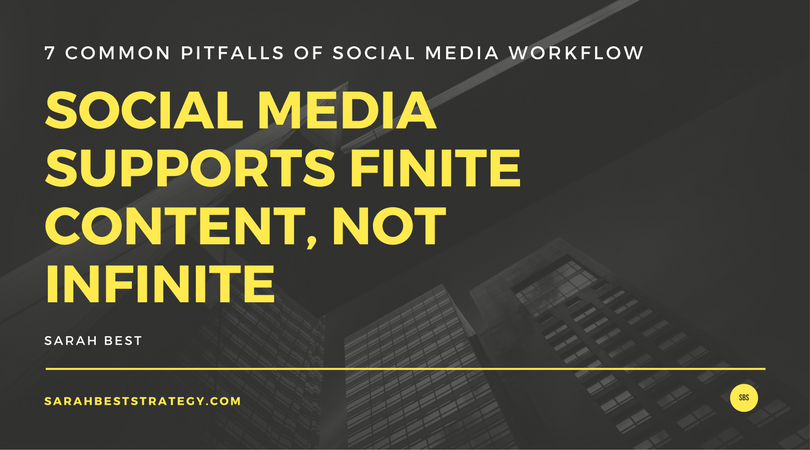 Social Media Supports a finite amount of content not an infinite amount of content. Quote from Sarah Best, Sarah Best Strategy